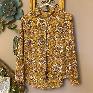 Splash paisley floral button down shirt